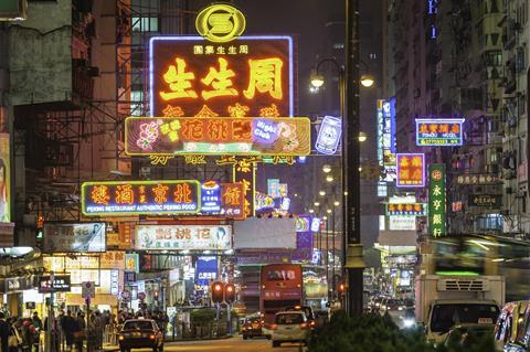 Neon signs in Kowloon, Hong Kong