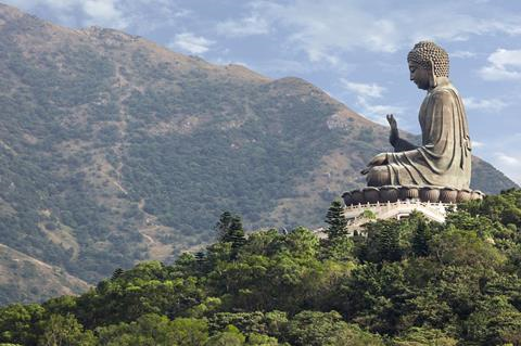 Po Lin Monastery at Lantau Island with large Buddha statue, Hong Kong