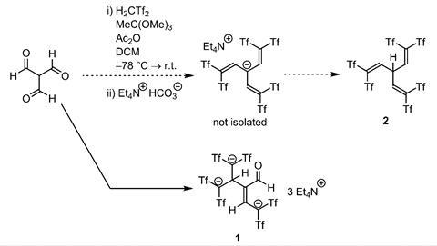 Synthetic route to tricarbanion 1. Tf SO2CF3