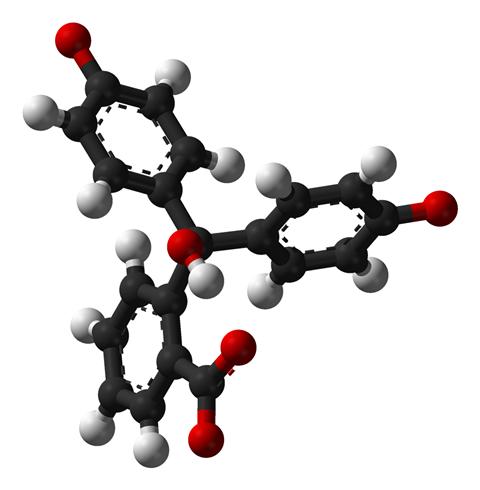 Phenolphthalein structure at high pH - 3D balls