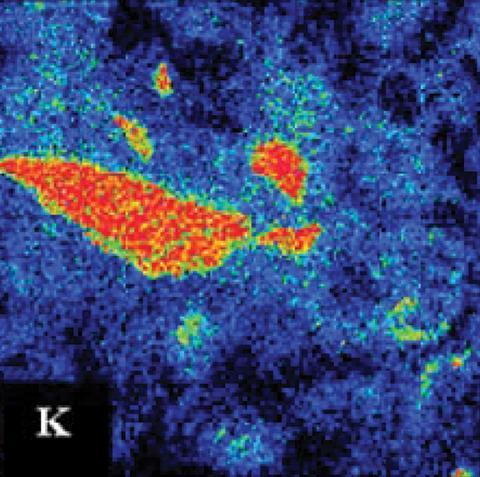 Electron probe micro-analyzer x-ray elemental maps of altered K-feldspar
