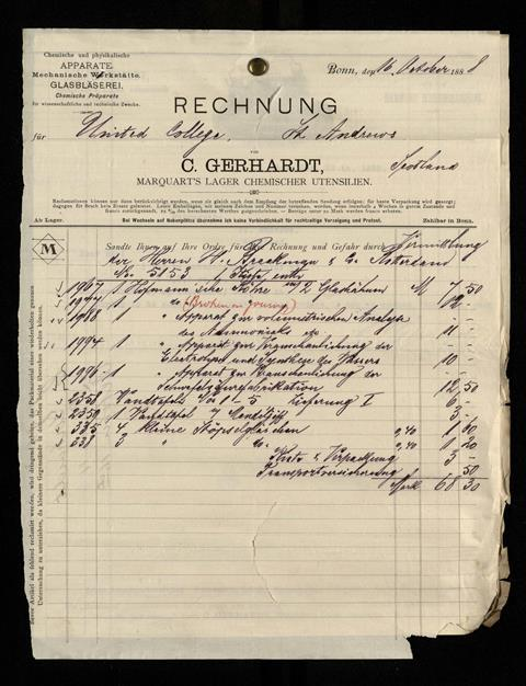 A picture of the purchase entry for the aquisition of the table