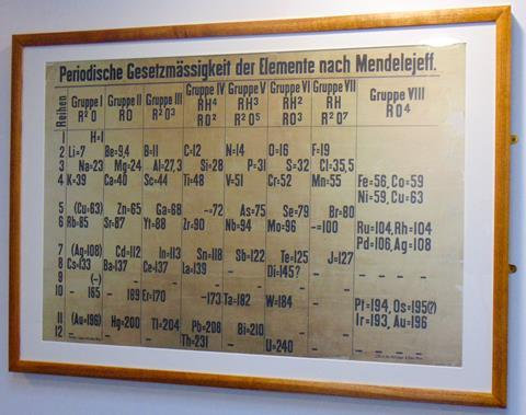 A picture of the fascimilie of the restored Table handing in St Andrews School of Chemistry