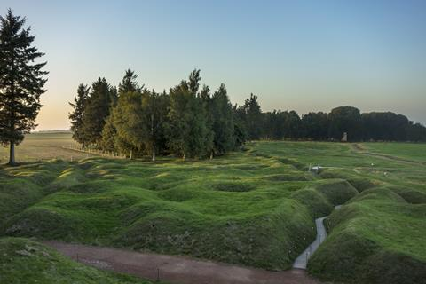 Preserved WWI bomb craters and trenches, Battle of the Somme