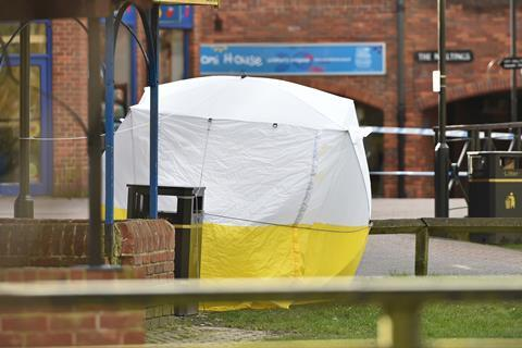 Image depicting the tent which Police put up in Salisbury upon discovery of the Skripals who had been poisioned