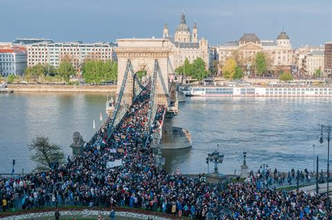 CEU riot in Budapest on the 9th of April, 2017