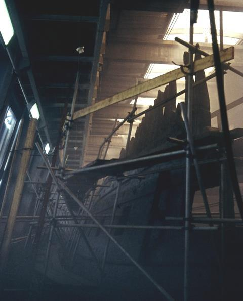 Vasa during the early stages of conservation at the Wasa Shipyard.
