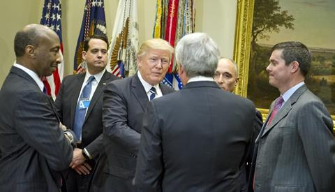 President Donald Trump meets with representatives of PhRMA