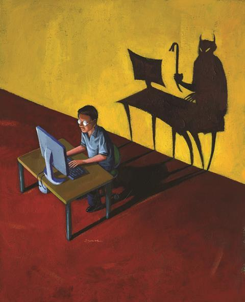 0118CW - Critical Point - Evil shadow behind man working on computer, illustration