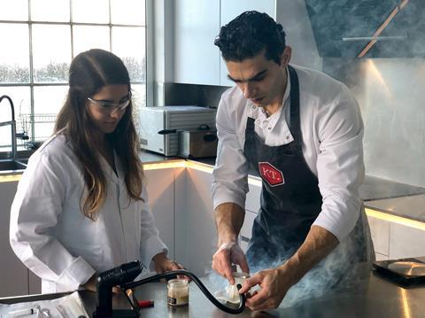A picture showing Imperial alumna Katerina Stavri (left) and chef Jozef Youssef (right)