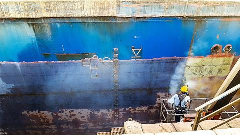 Anti fouling treatment on ship hull at dry dock