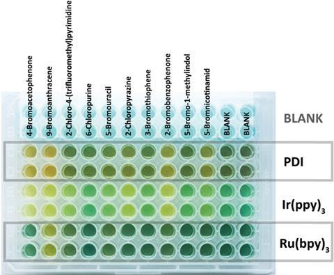 Different coloured reactions in 96 well plate
