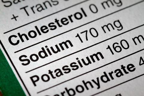 Nutrition information, focusing on sodium