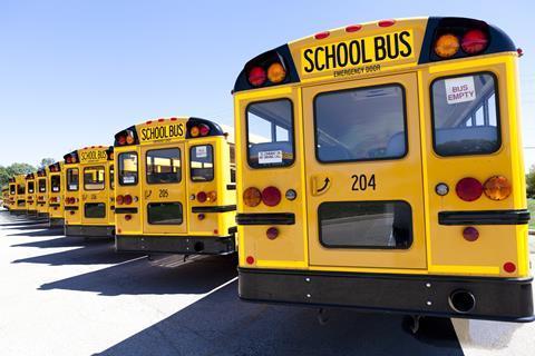 Yellow US school buses