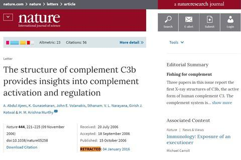 Retracted Nature Article The structure of complement C3b provides insights into complement activation and regulation