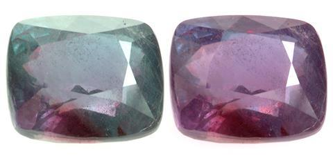 Alexandrite Cushion, 26.75 cts. Bluish green in daylight and purple red under incandescent light