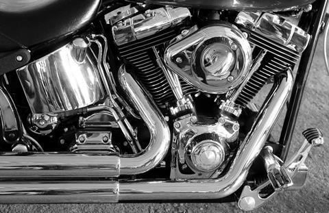 Shiny chromium plated v-shaped motorbike engine