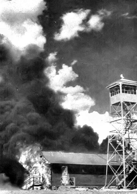 Errant bats from the experimental Bat Bomb set the Army Air Base in Carlsbad, New Mexico on fire, 1942.
