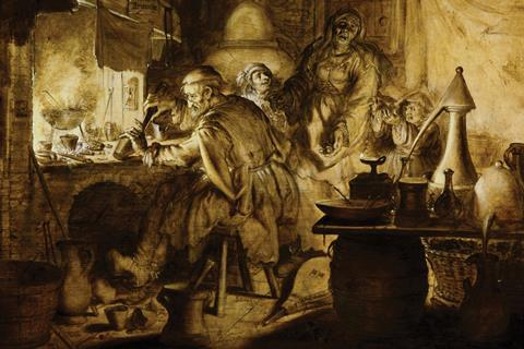 1632 Dutch oil painting by Adriaen van de Venne, entitled 'Rijcke-Armoede' (Rich Poverty), depicting an alchemist working with a pestle and mortar in his workshop. Behind him are his wife and two children.
