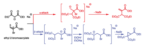 Michael's proposed mechanisms for formation of the two potential products