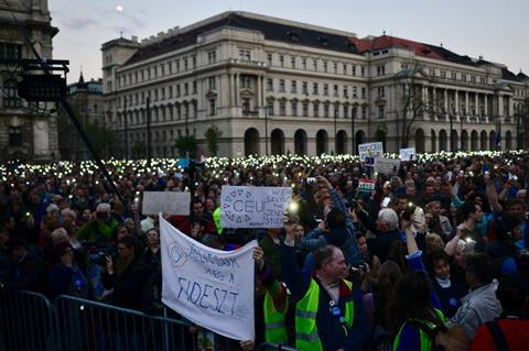 Demonstrators protest against HE law amendment in Budapest