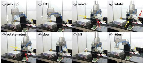 Time lapse images of glass transportation using the dry adhesive module-attached robot arm
