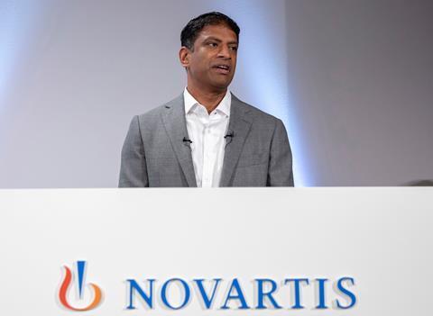 An image showing Vas Narasimhan, CEO of Swiss pharmaceutical group Novartis