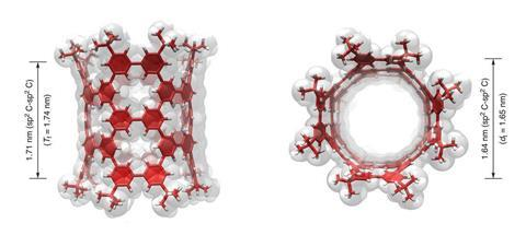 A picture showing the side and top views of the molecular structure