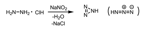 Scheme showing the synthesis of hydrazoic acid from hydrazine