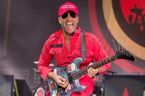 Tom Morello playing guitar on stage with Prophets of Rage