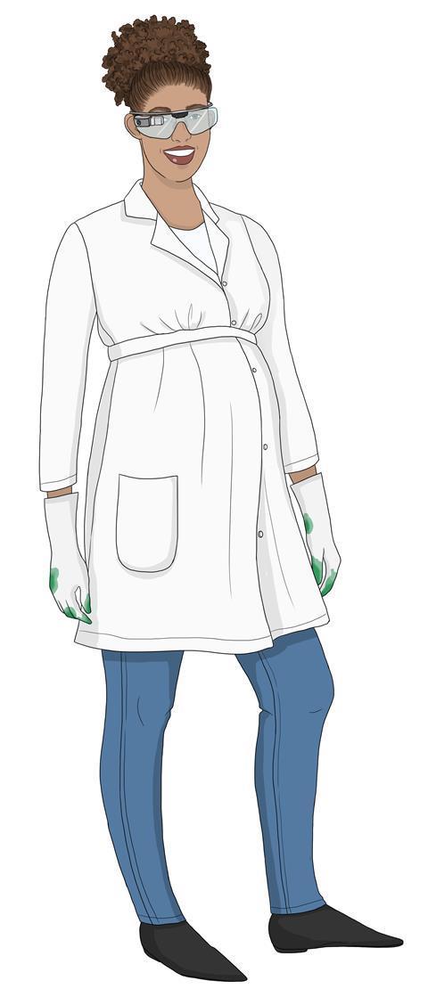Reinventing the lab coat, pregnant female figure, concept illustration