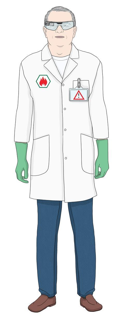 Reinventing the lab coat, male figure, concept illustration