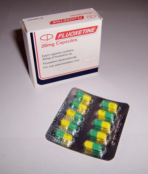 Fluoxetine (also known as Prozac) medication box