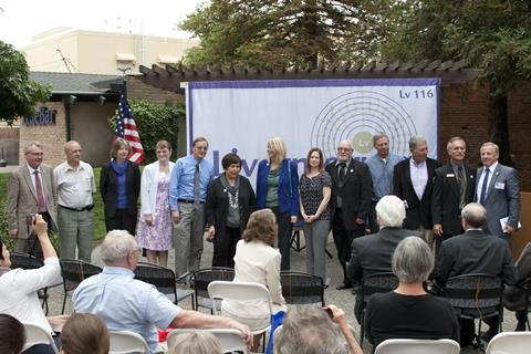 Members of the Livermorium discovery team, including scientific collaborators from the Russian city of Dubna, are recognized during the dedication of Livermorium Plaza in downtown Livermore.
