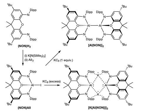 Syntheses of potassium aluminyl compound and the dialane