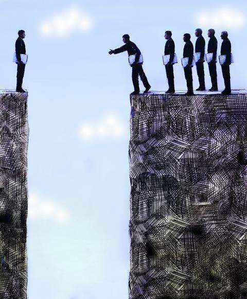 An image showing a group of men encouraging one man to overcome a gap in order to reach their side