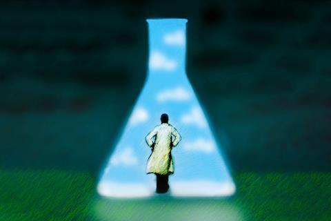 An image showing a man stepping into a conical flask shaped window of light