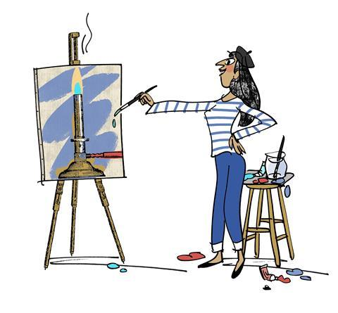 An image showing a woman dressed in French style clothing and painting a Bunsen burner on a canvas