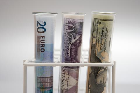 Bank notes in test tubes