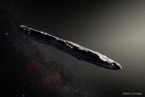 Artist's concept of interstellar asteroid 1I/2017 U1 ('Oumuamua) as it passed through the solar system after its discovery in October 2017