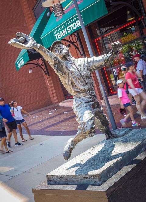 Bronze statue of George Sisler of the St Louis Cardinals at Busch Stadium, St Louis, MO, USA, sculpted by Harry Weber