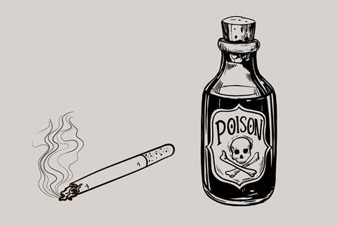 An image showing a cigarette next to a poison bottle