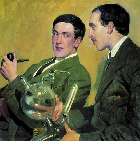 An illustration showing Pyotr Kapitsa and Nikolay Semyonov