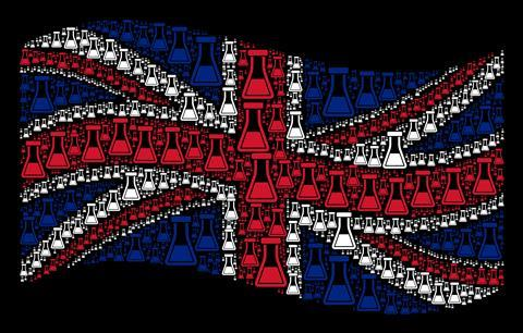 UK flag made up of scientific conical flasks, illustration