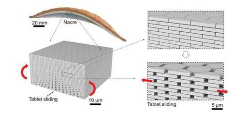 An image showing the design and fabrication of nacre-like glass panels