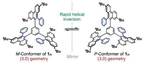 C3-symmetric dynamic helical molecules featuring 2,7- di-tert-butyl-9,10-diarylphenanthrene-based p-blades