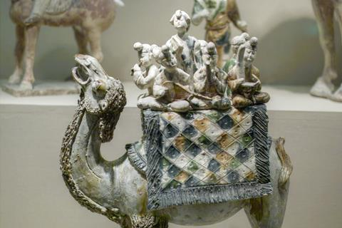A band of musicians mounted on a camel, Shaanxi History Museum, Xi'an