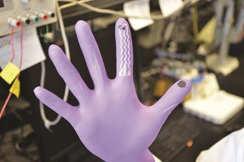 Glove-based sensor for nerve agents, showing the collection and sensing fingers