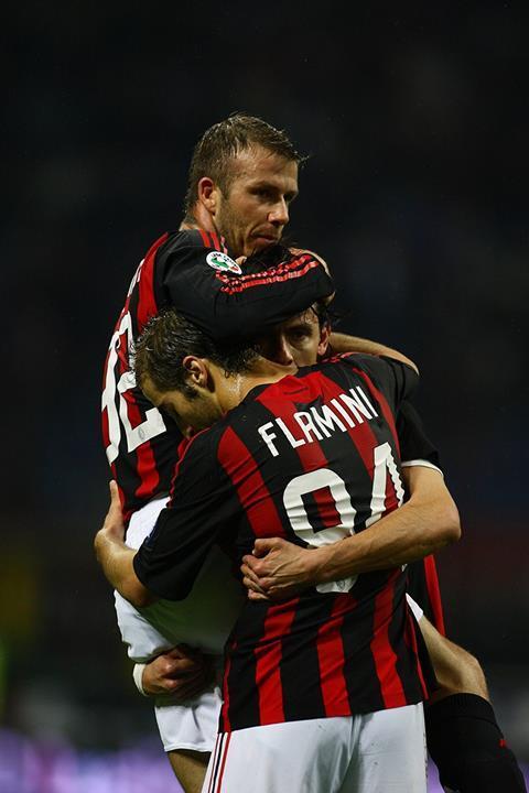 Beckham, Inzaghi & Flamini celebrate a goal