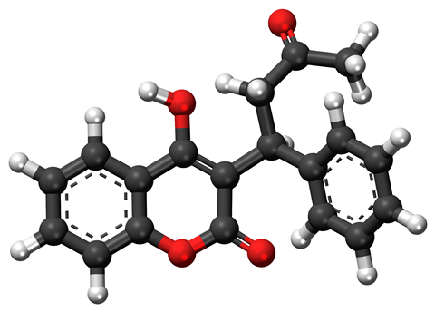 Ball-and-stick model of warfarin, a widely used anticoagulant drug.